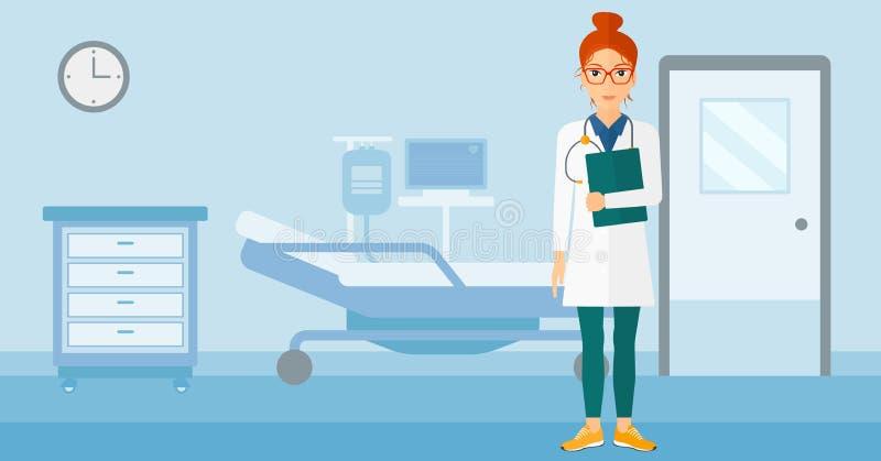 医生在医院病房里 向量例证