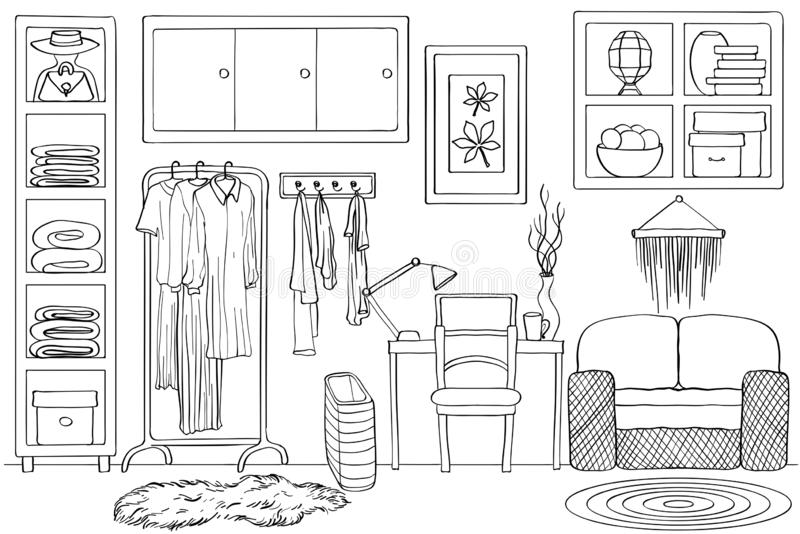生存衣橱室内部剪影,黑白 皇族释放例证