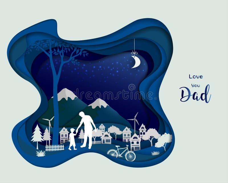 生小心他的夜间的儿子,在深蓝背景的抽象纸艺术设计 库存例证