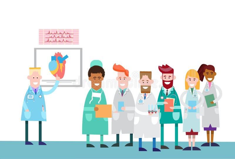 医生小组人实习生演讲人体心脏 库存例证
