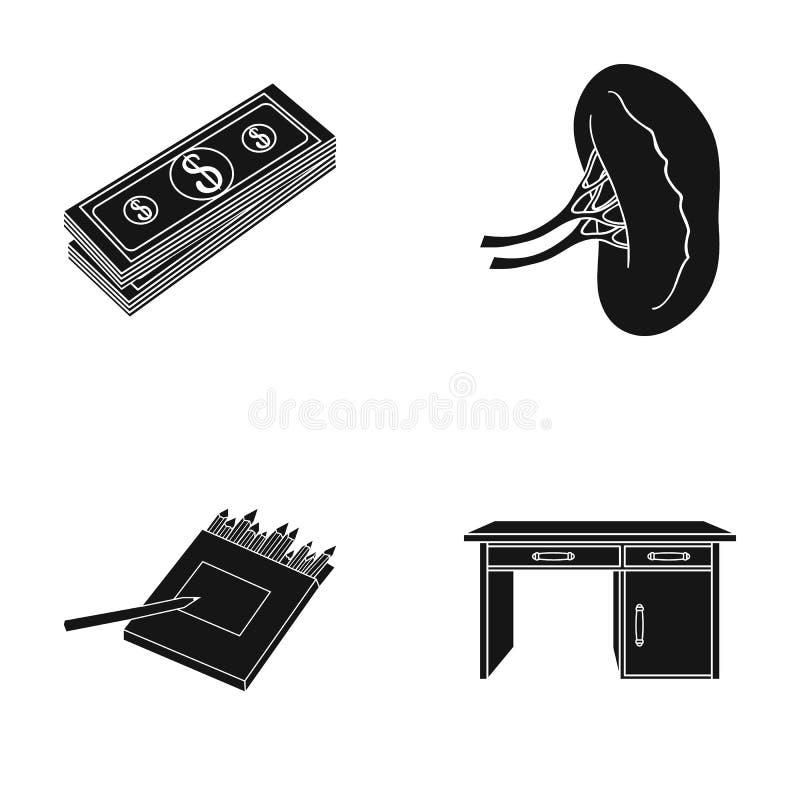 生态、事务、银行和其他网象在黑样式 家具,树,在集合汇集的设计象 向量例证