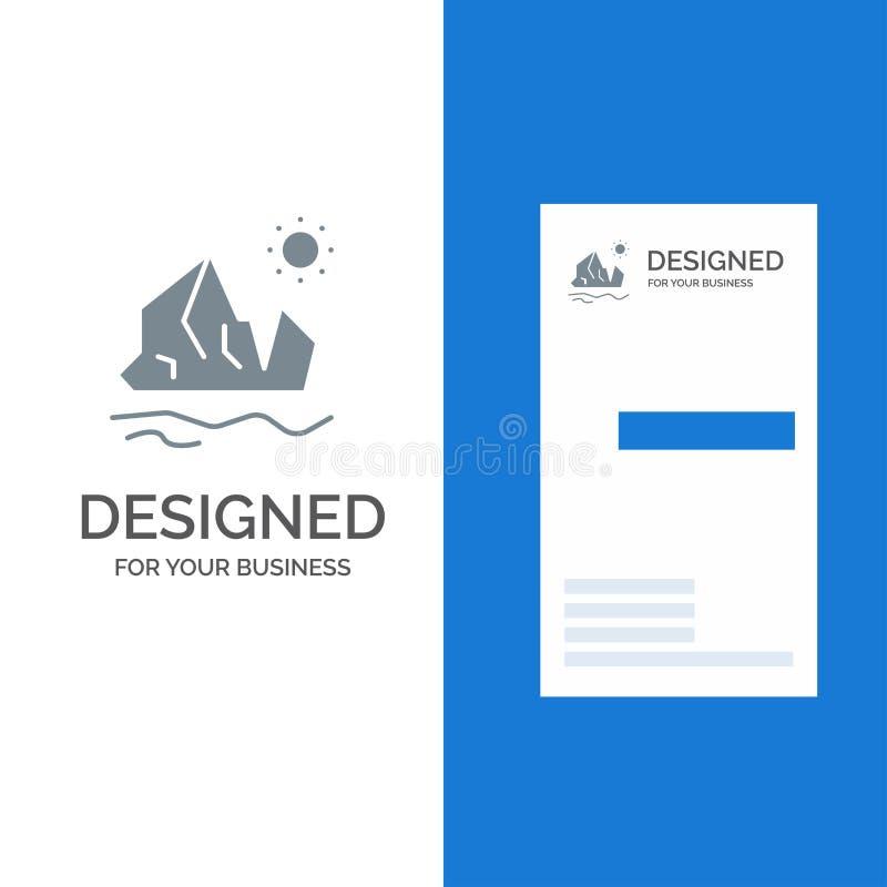 生态、环境、冰、冰山、熔化的灰色商标设计和名片模板 皇族释放例证