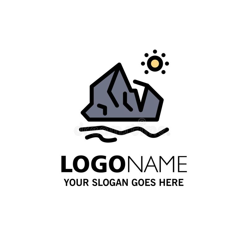生态、环境、冰、冰山、融化商业标志模板 平整颜色 皇族释放例证