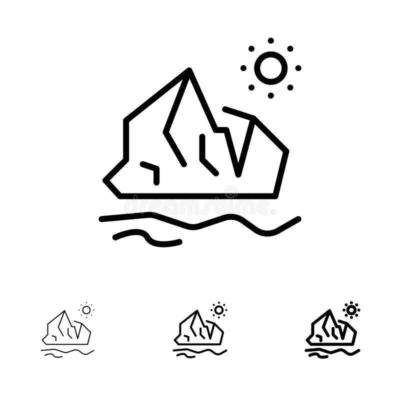 生态、环境、冰、冰山、融化粗体和细黑线图标集 库存例证