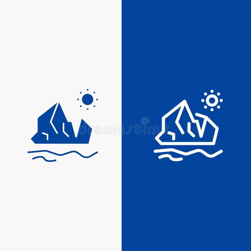 生态、环境、冰、冰山,熔化的线和纵的沟纹坚实象蓝色旗和纵的沟纹坚实象蓝色横幅 皇族释放例证