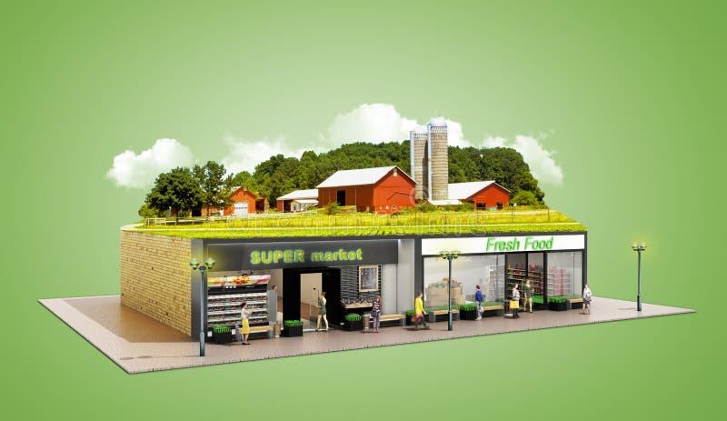 生态上纯净的食物的概念陈列supermar的杂货 库存例证