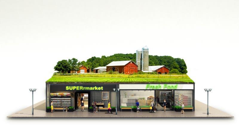 生态上纯净的食物的概念陈列supermar的杂货 向量例证
