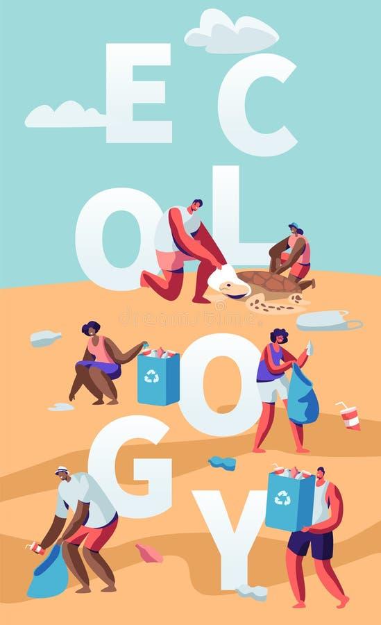 生态保护概念,收集在海滩的人们垃圾 海边的污染与垃圾的 志愿者清扫废物 向量例证