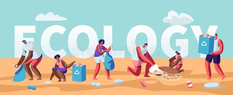 生态保护概念,收集在海滩的人们垃圾 海边的污染与垃圾的 志愿者清扫废物 皇族释放例证