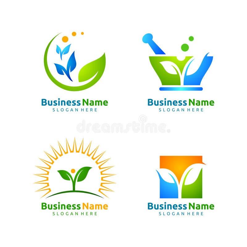 生态叶子商标模板自然绿色树  向量例证