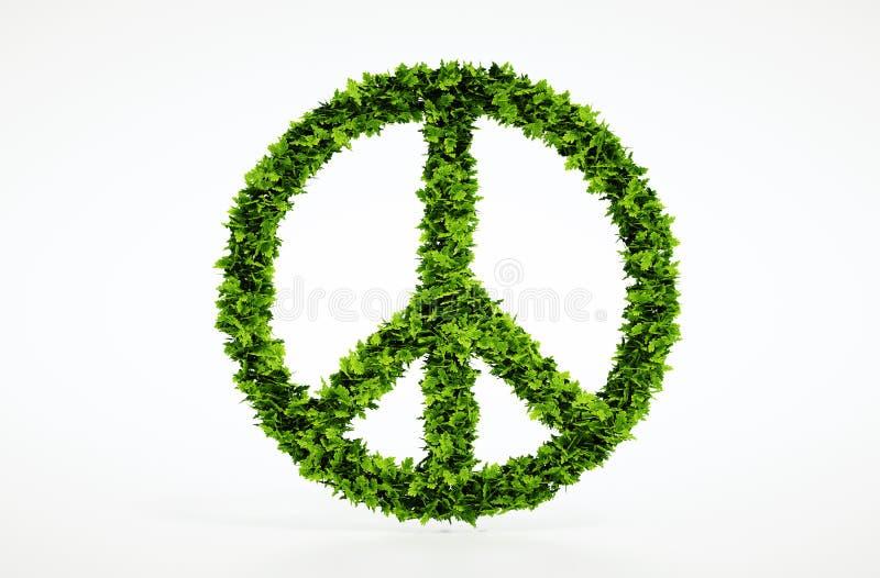生态和平标志有白色背景 免版税图库摄影
