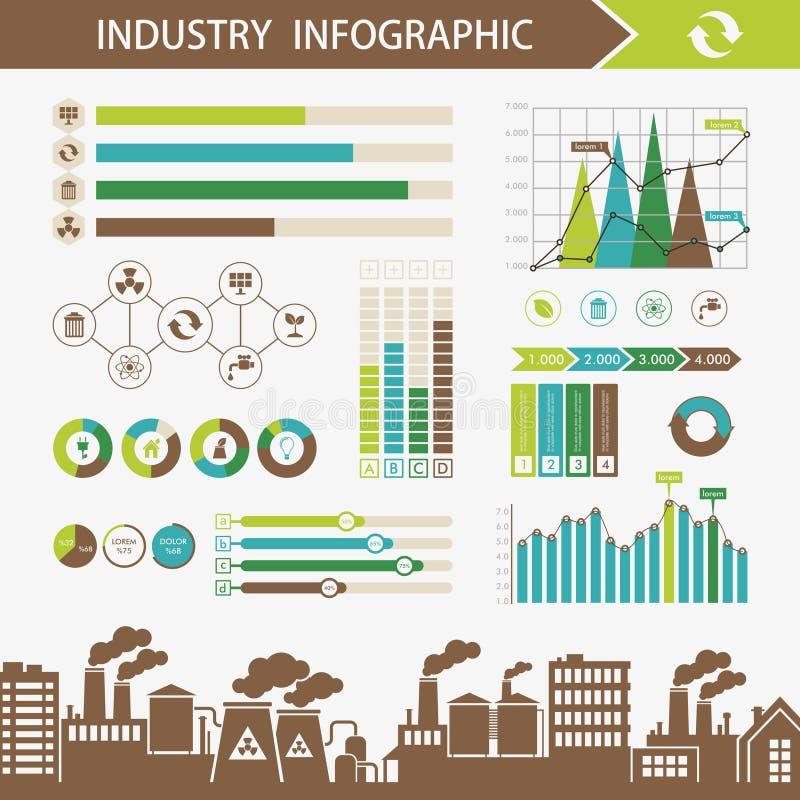生态和污染抽象infographics例证 向量例证