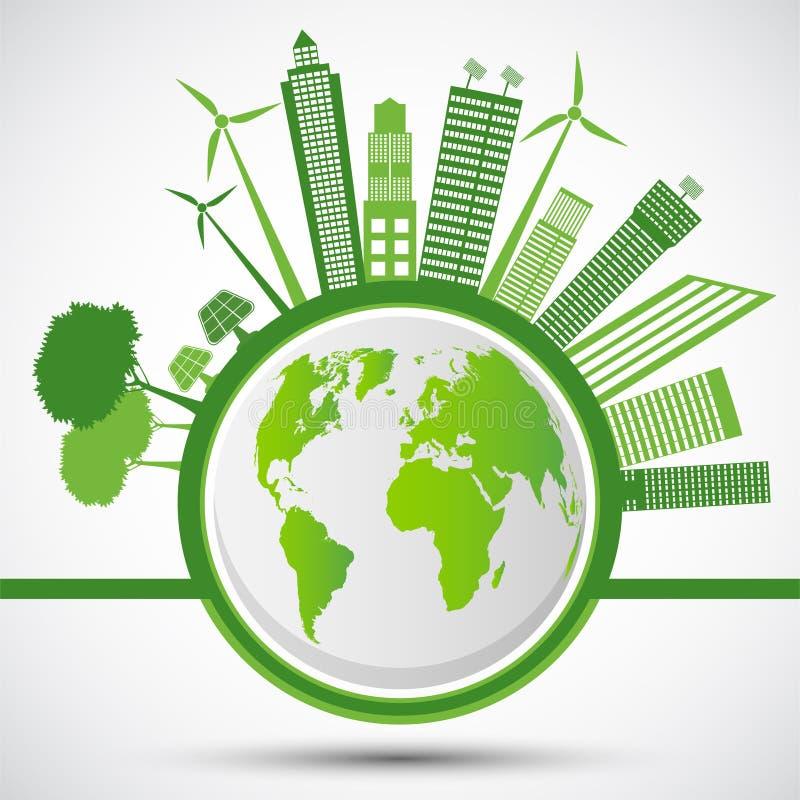 生态和环境概念,与绿色叶子的地球标志在城市附近帮助世界有环境友好的想法,传染媒介 向量例证
