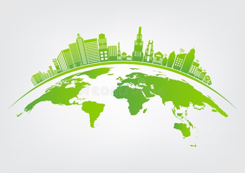 生态和环境概念,与绿色叶子的地球标志在城市附近帮助世界有环境友好的想法 向量例证