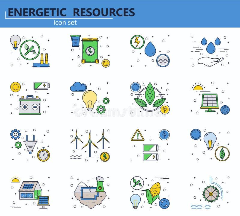 生态和绿色能源  向量例证