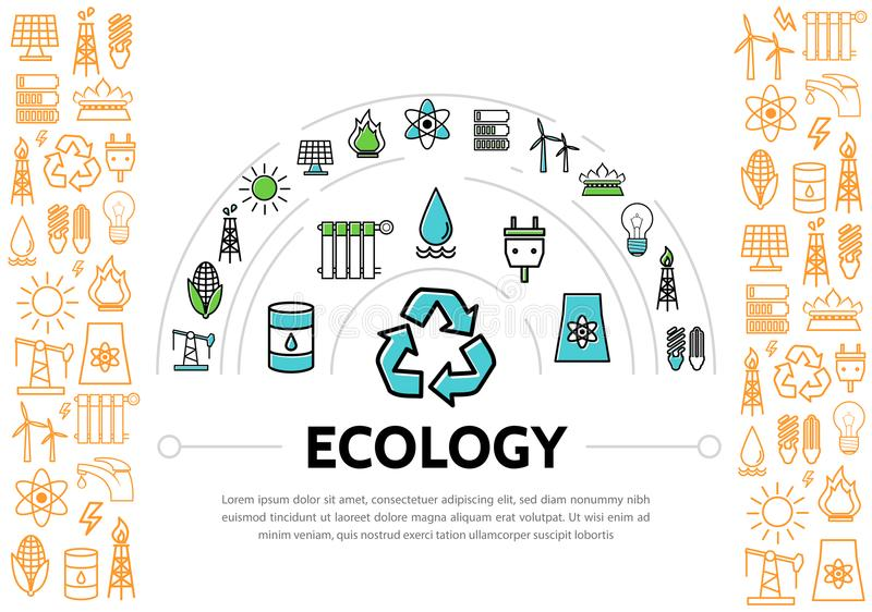 生态和能量模板 库存例证
