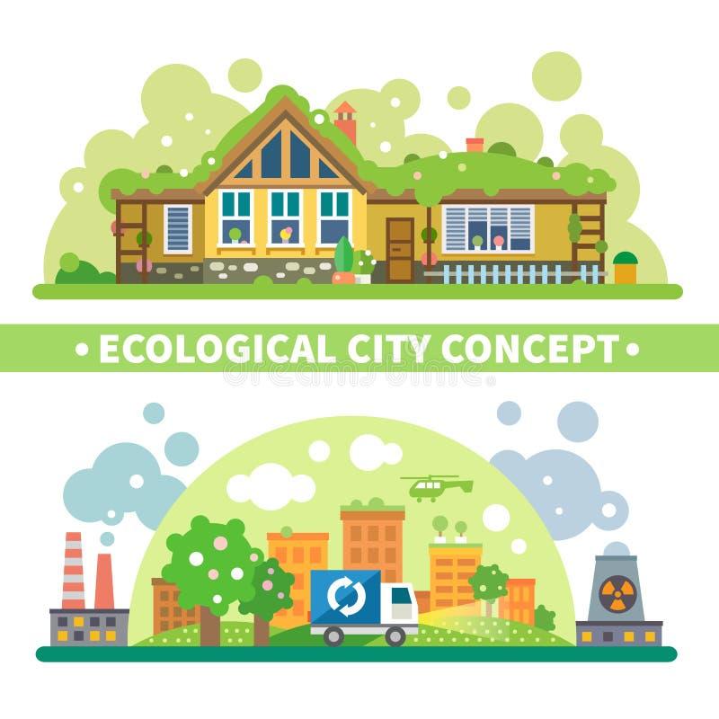 生态城市概念 向量例证
