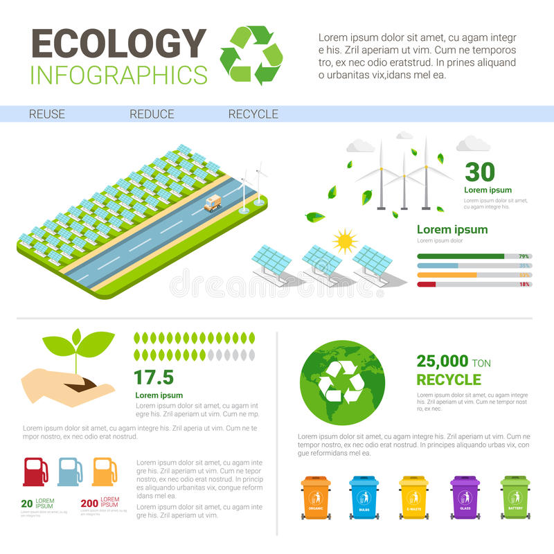 生态排序的废Infographic横幅垃圾容器回收垃圾概念 向量例证