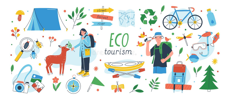 生态旅游集合 eco友好的旅游业设计元素的汇集在白色背景隔绝的-男性和女性 皇族释放例证