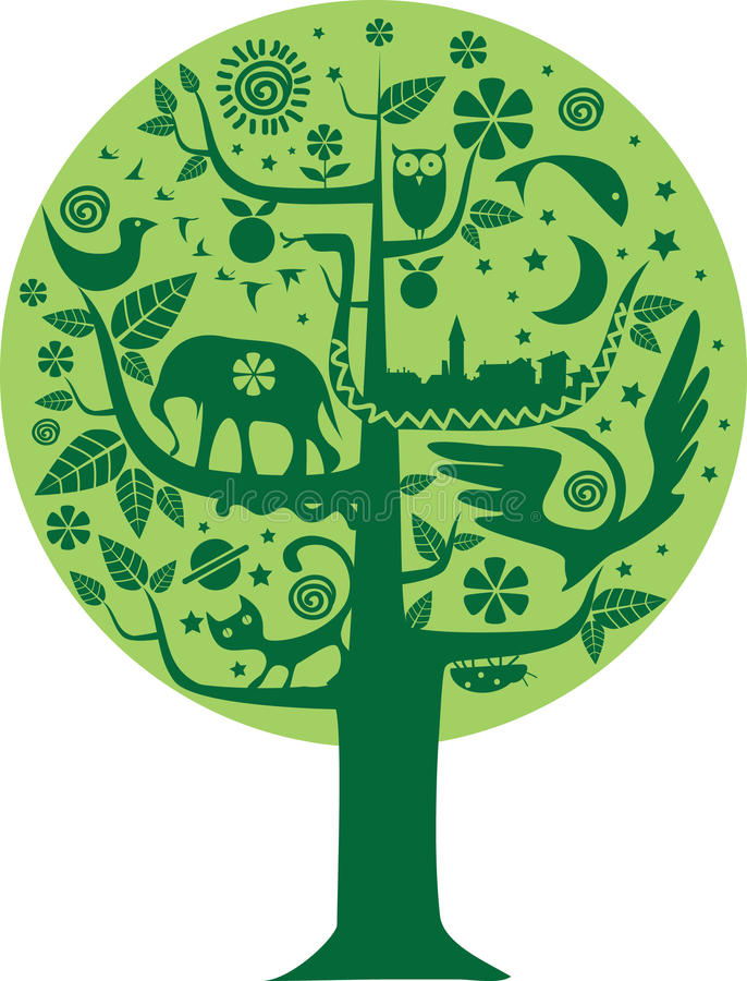 生态本质结构树 向量例证