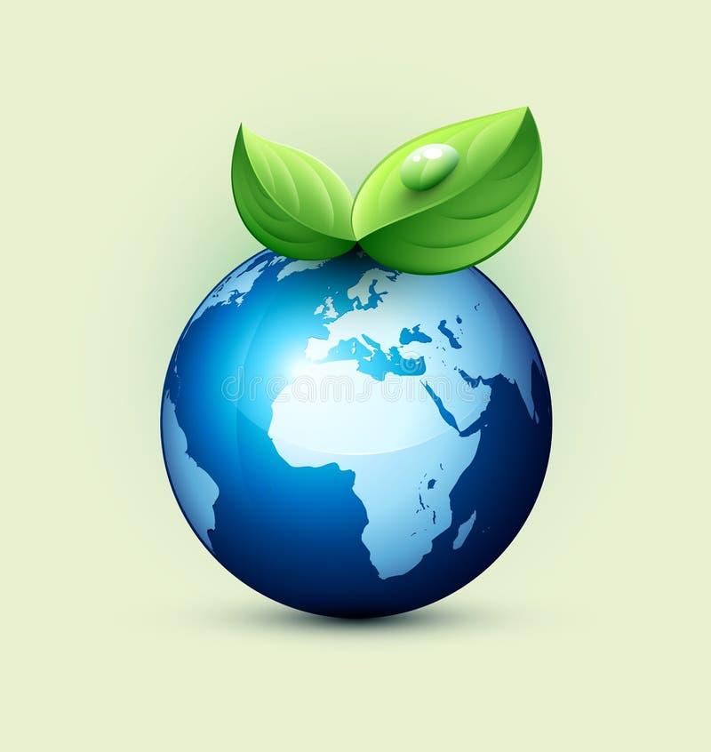 生态概念、蓝色地球和叶子 皇族释放例证