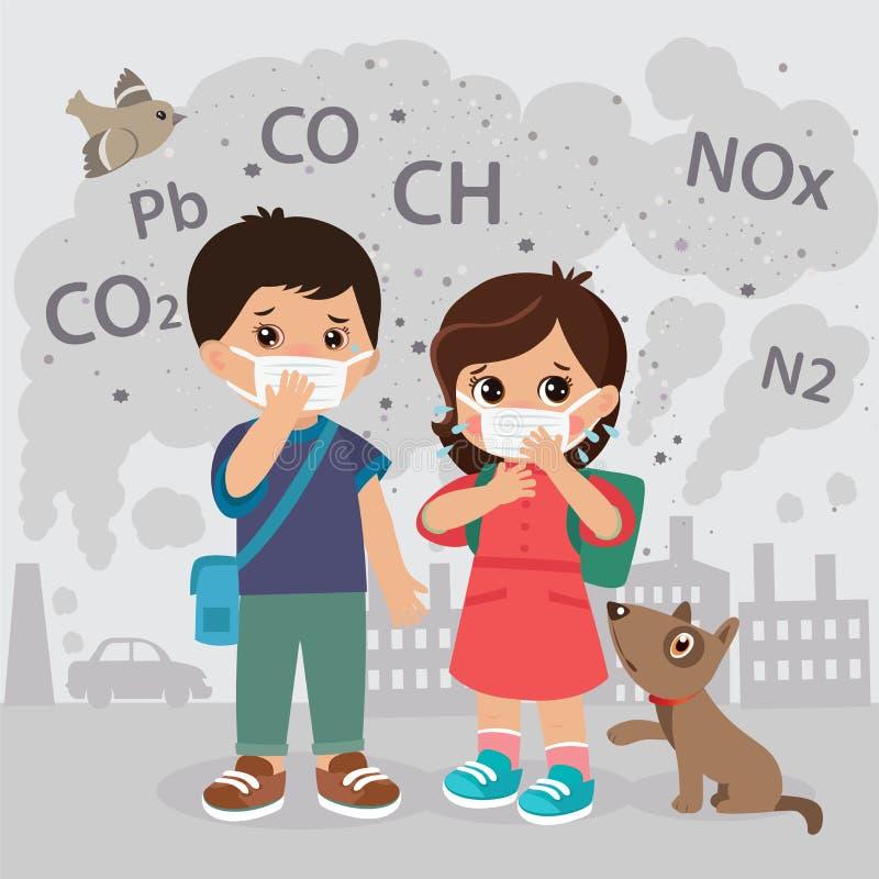 生态概念空气污染 二氧化碳,铅,Ch,氮氧化物排放覆盖传染媒介例证 向量例证