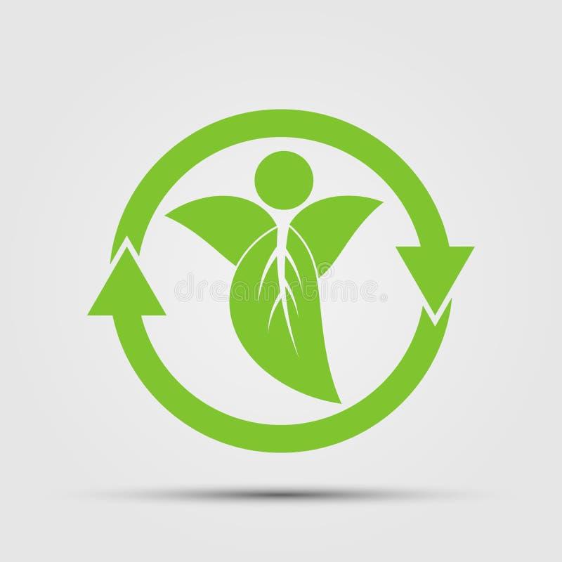 生态概念,在叶子,传染媒介例证的被回收的周期箭头 库存例证