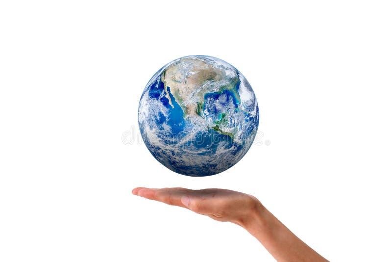 生态概念:行星漂浮在妇女的手的地球地球隔绝在白色背景 图库摄影