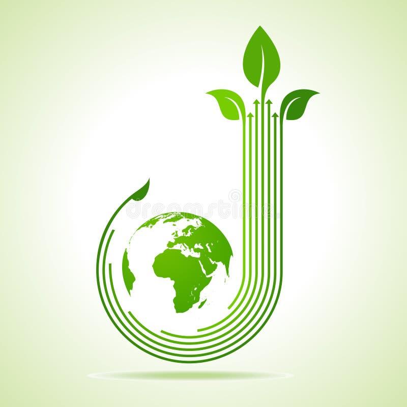 生态概念-与地球的企业商标 向量例证