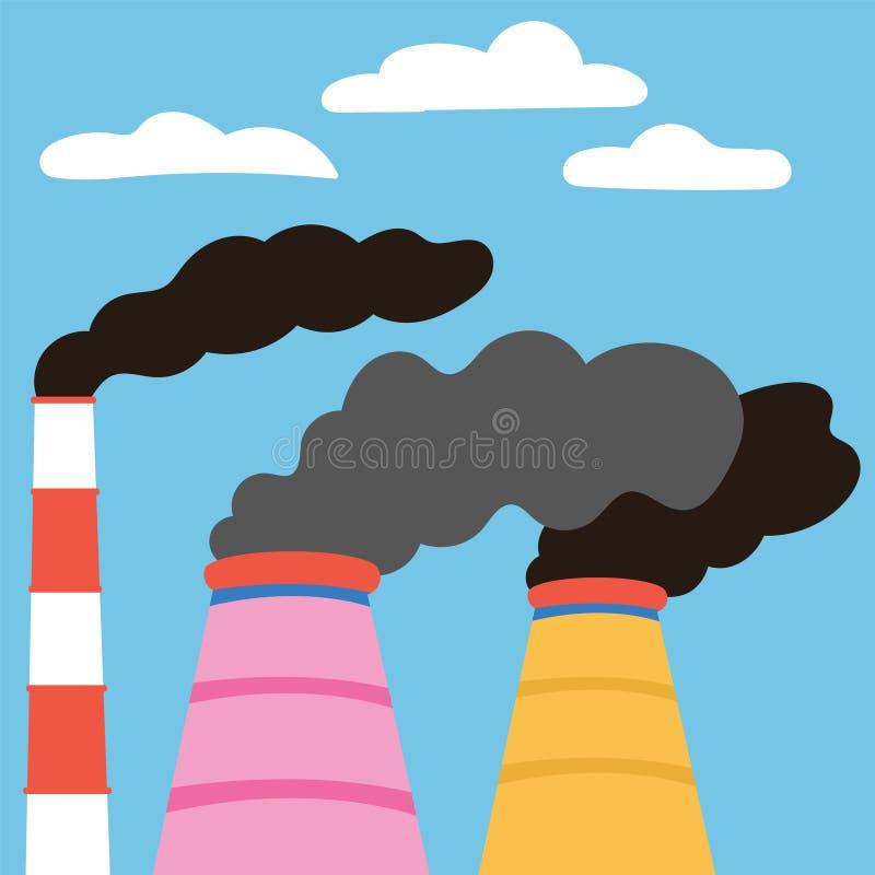 生态灾难 从制造工厂的空气污染放射 废气排放 向量例证