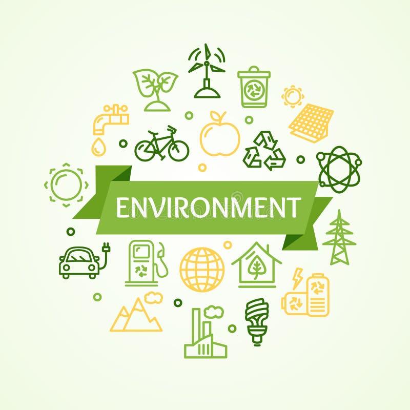 生态环境概念卡片 向量 皇族释放例证
