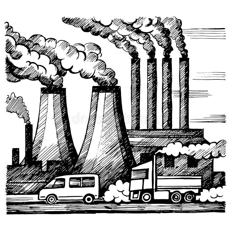 生态空气和大气污染 向量例证