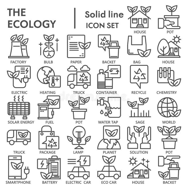 生态线象集合,环境标志汇集,传染媒介剪影,商标例证,eco标志线性图表 向量例证