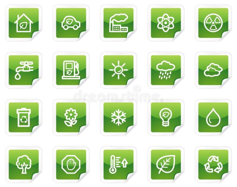 生态绿色图标系列贴纸万维网 皇族释放例证