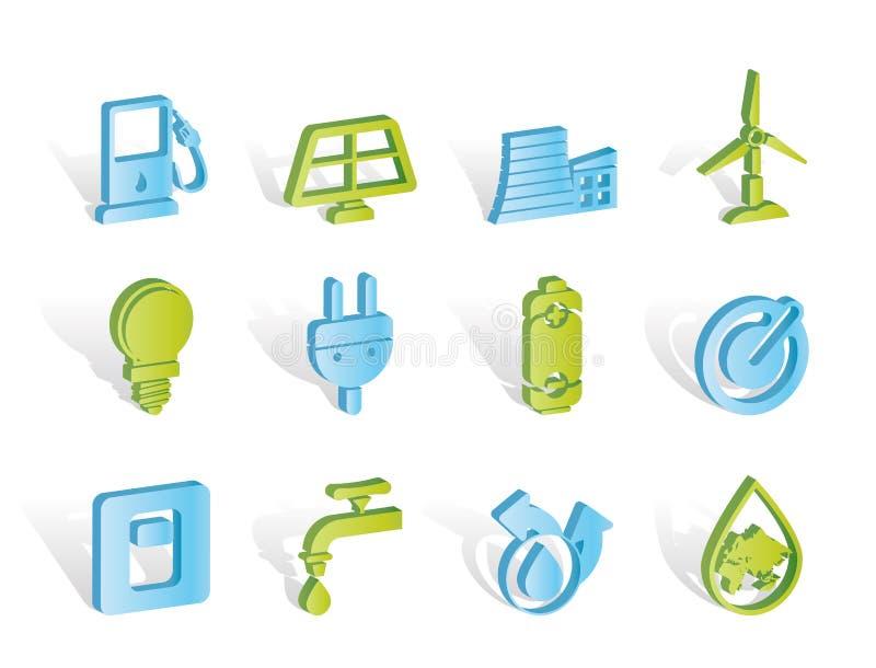 生态能源图标次幂 向量例证