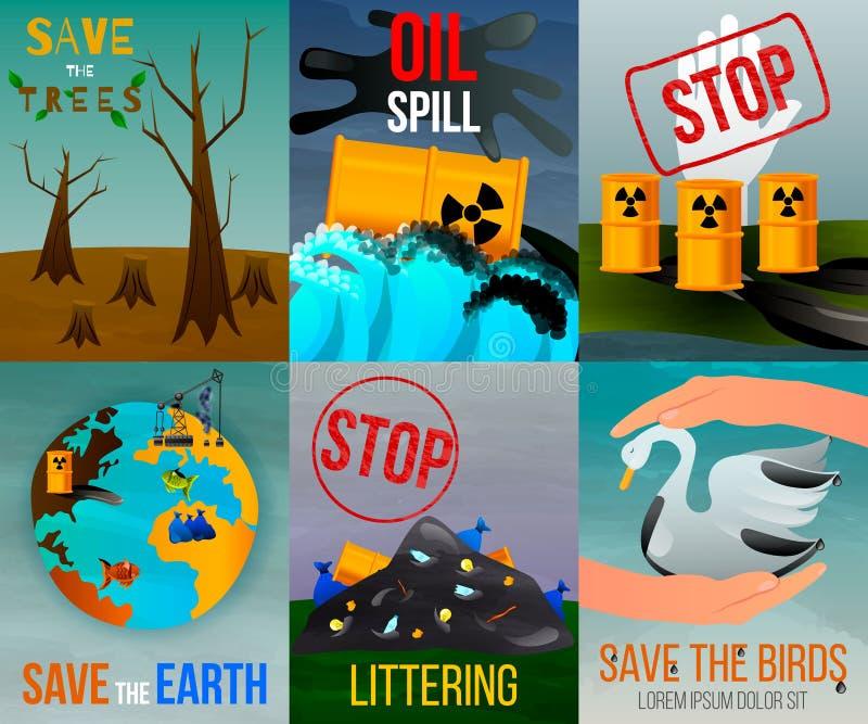 生态问题平的卡片 库存例证