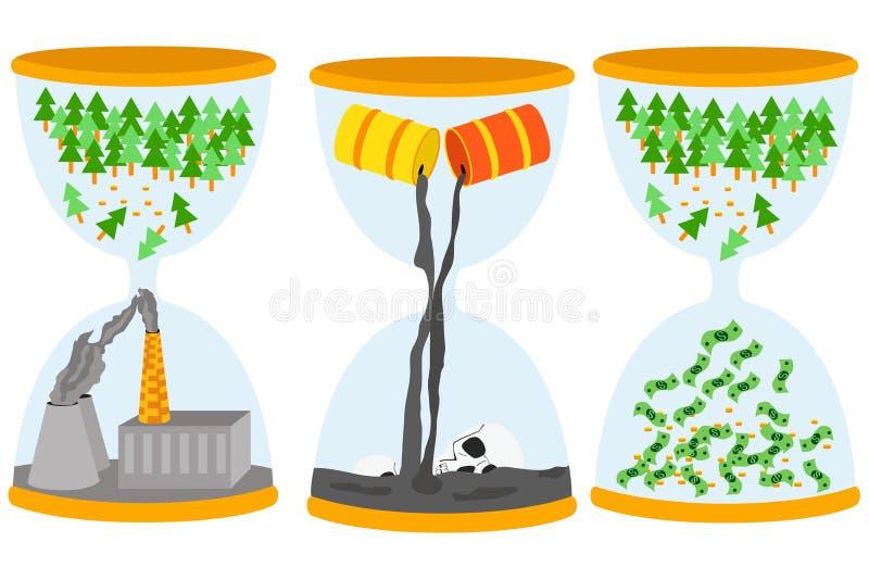 生态问题概念 与油污染问题,脚手架,大气污染的Sandglasses 库存例证