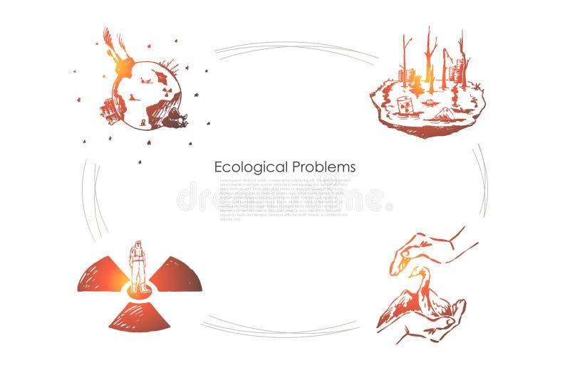 生态问题-保存罕见的种类,污染,全球性wrming的传染媒介概念集合 库存例证
