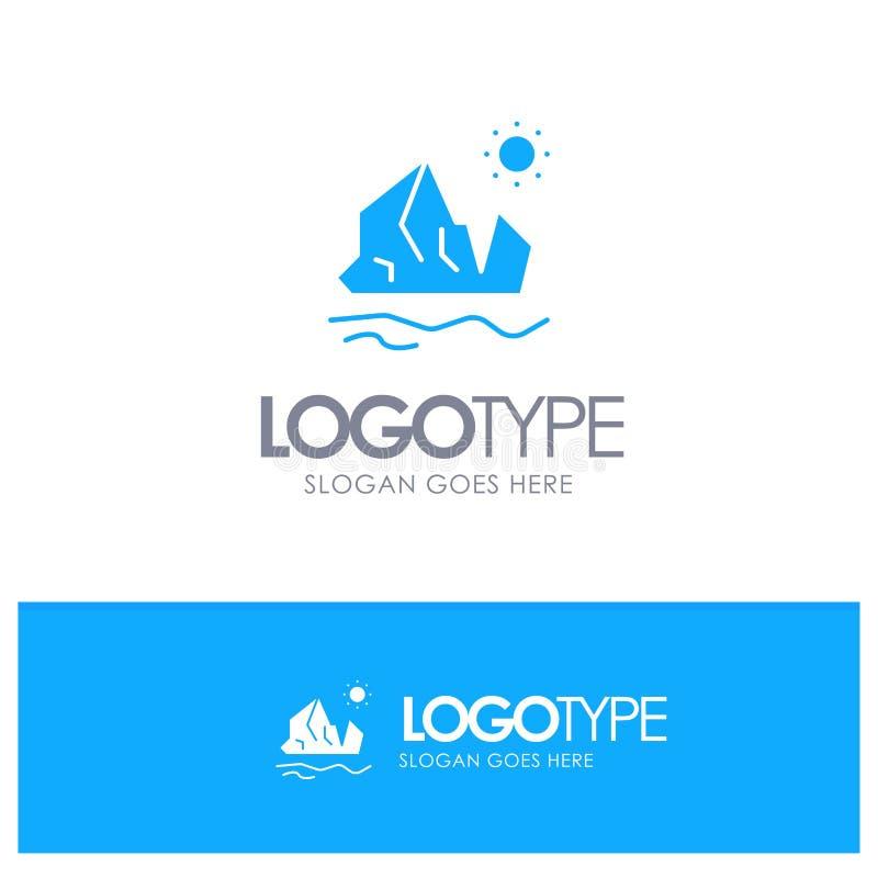生态,环境,冰,冰山,与地方的熔化的蓝色坚实商标口号的 皇族释放例证