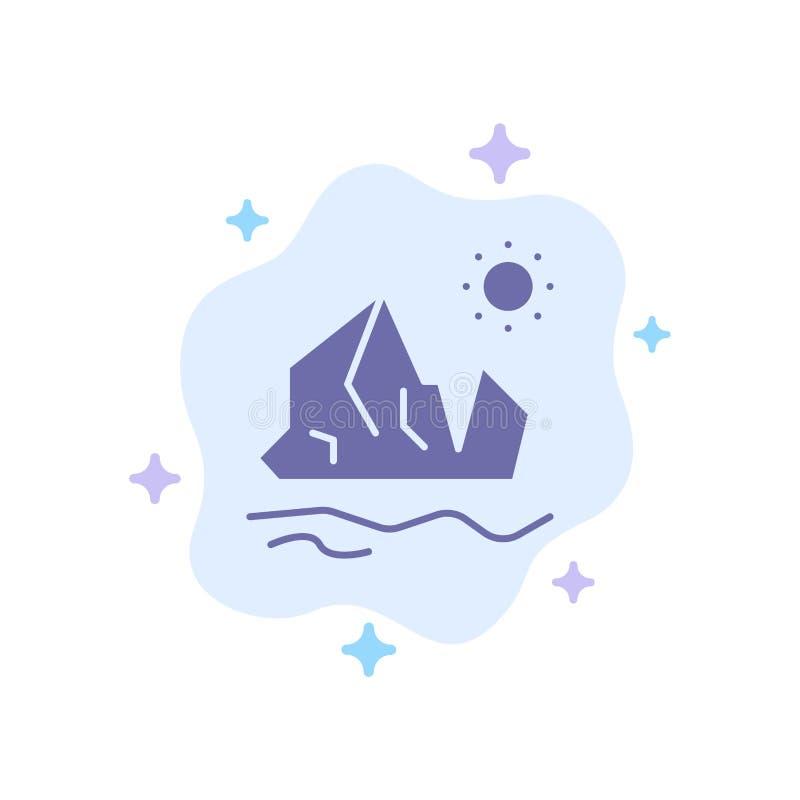 生态,环境,冰,冰山,在抽象云彩背景的熔化的蓝色象 皇族释放例证