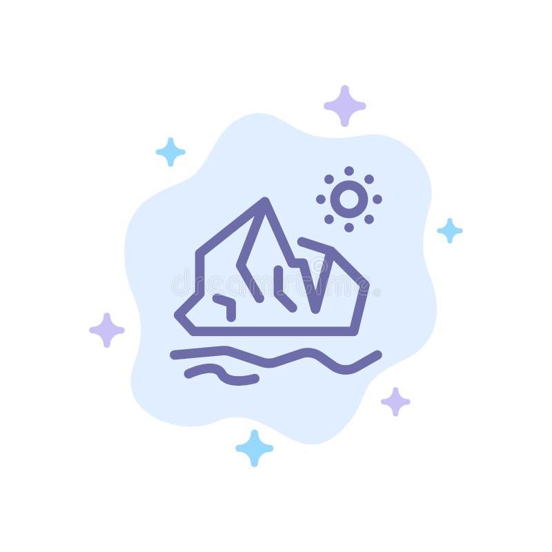 生态,环境,冰,冰山,在抽象云彩背景的熔化的蓝色象 向量例证