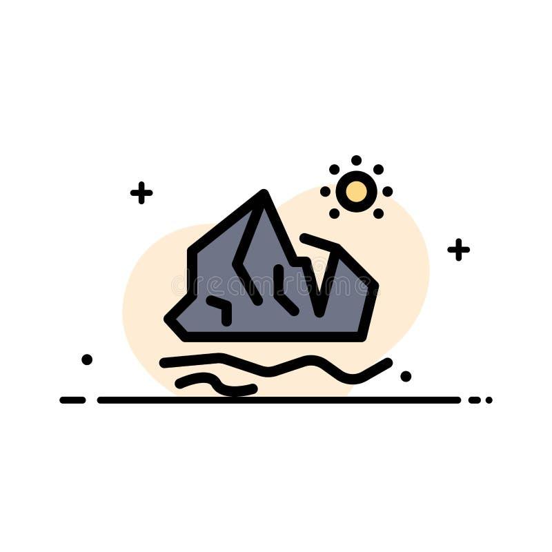 生态,环境,冰,冰山,熔化的企业平的线填装了象传染媒介横幅模板 皇族释放例证