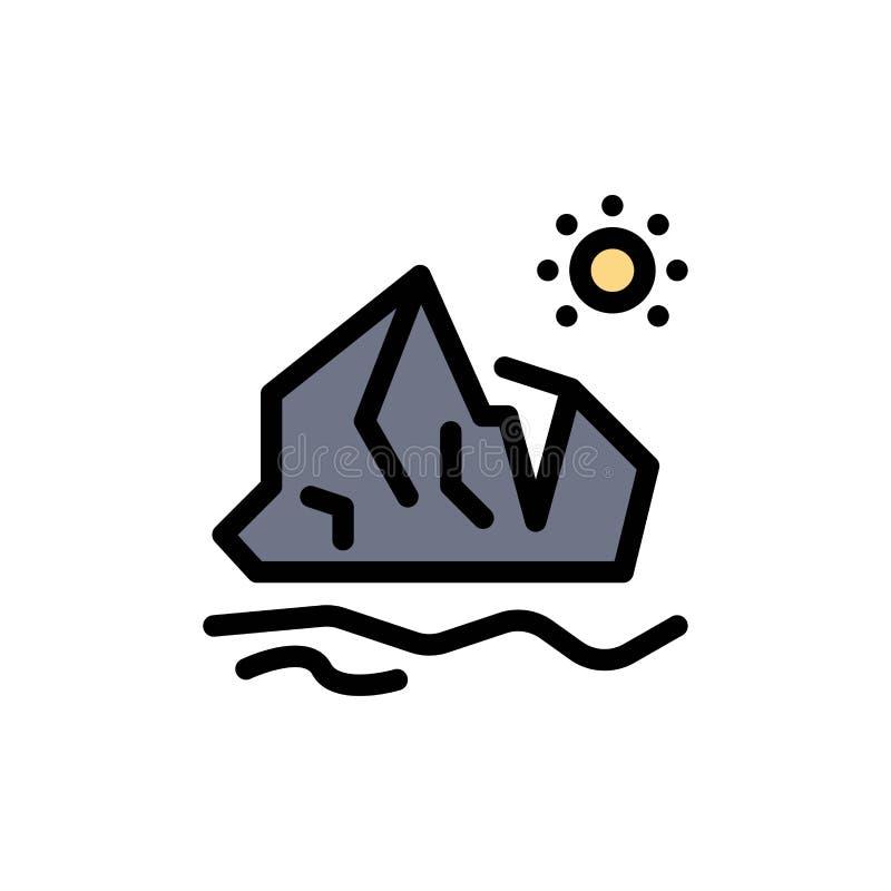 生态,环境,冰,冰山,熔化的平的颜色象 传染媒介象横幅模板 库存例证