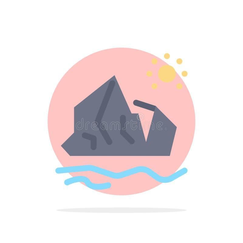 生态,环境,冰,冰山,熔化的抽象圈子背景平的颜色象 皇族释放例证