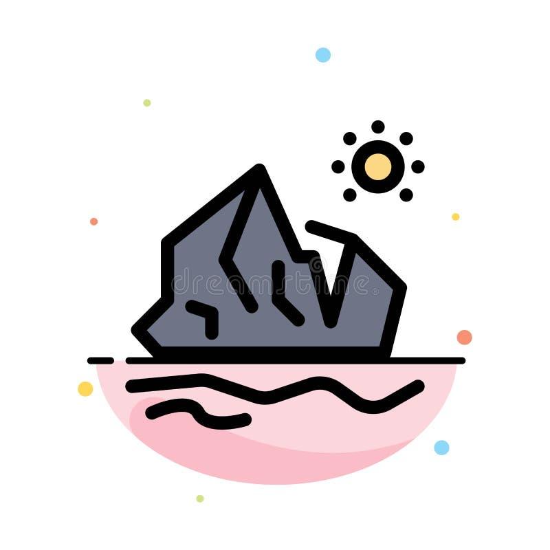 生态,环境,冰,冰山,熔化的抽象平的颜色象模板 库存例证