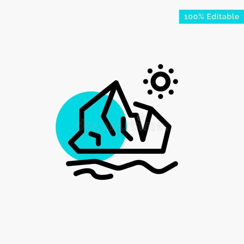 生态,环境,冰,冰山,熔化的绿松石聚焦圈子点传染媒介象 向量例证