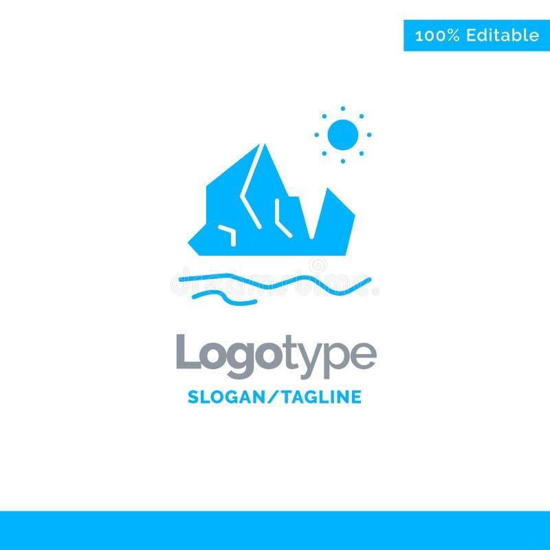 生态,环境,冰,冰山,熔化的蓝色坚实商标模板 r 库存例证