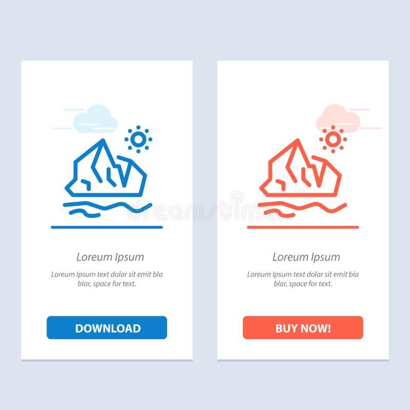 生态,环境,冰,冰山,熔化蓝色和红色下载和现在买网装饰物卡片模板 库存例证