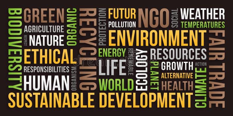 生态,环境,可持续发展-词云彩 库存例证