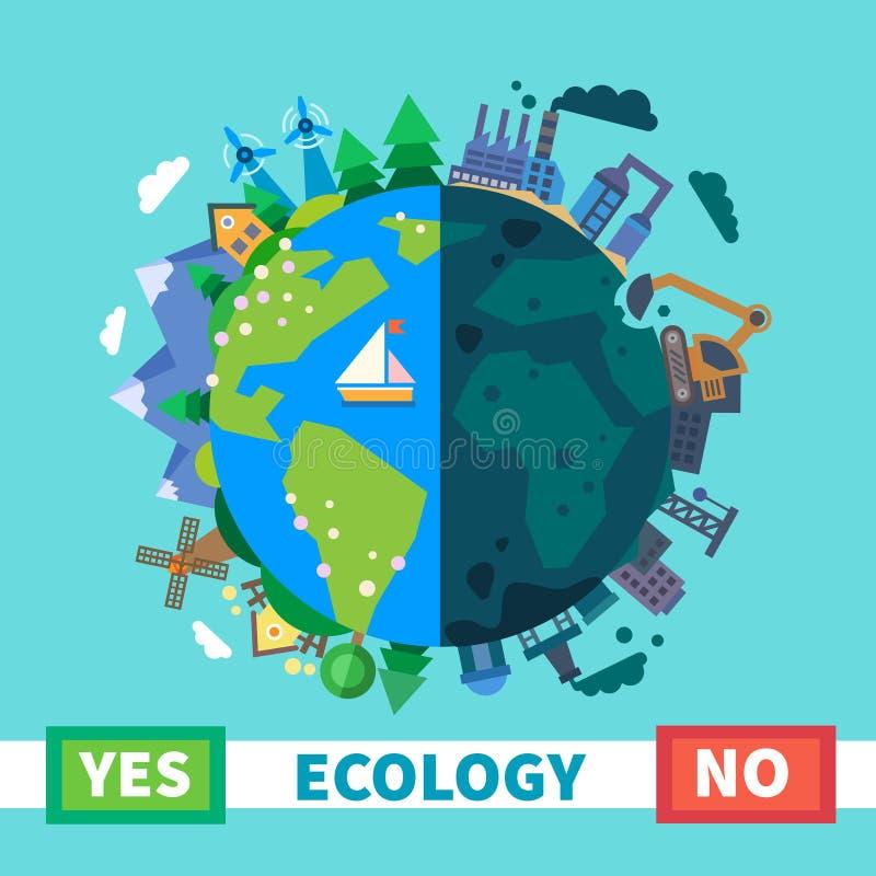 生态 在自行车运河eco能源环境友好平均值次幂保护可延续的岗位运输风之上 向量例证